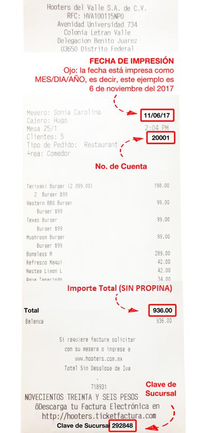 hooters facturación ticket factura
